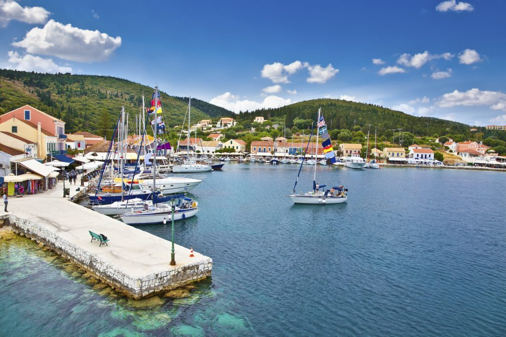 Harbor of Fiskardo village on Kefalonia Ionian island, Greece.