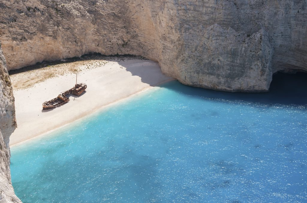 Amazing view of empty Navagio Beach, Zakynthos, Greece