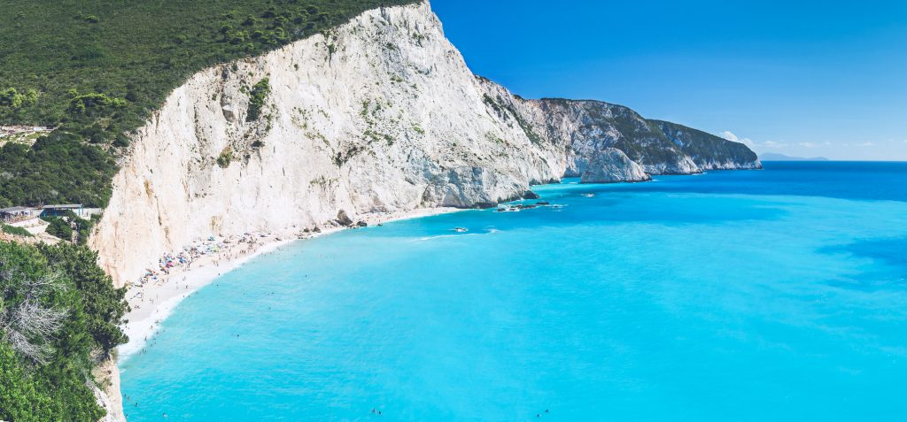 Panorama view of the one of the most beautiful beaches and sea colors in Greece, Porto Katsiki, on Lefkada island.