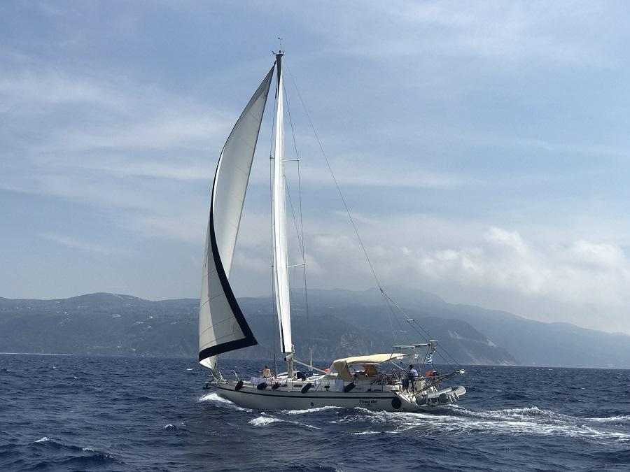 Sailing in the Ionian Sea wilth sail in ionio